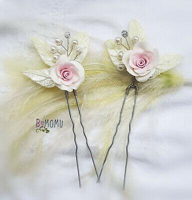 Pareja Horquillas Adorno 2 Rosas para el Pelo-Flores Porcelana-Tocado Novias