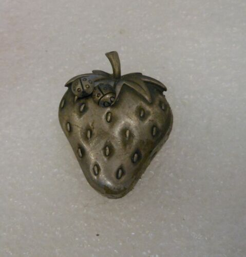Strawberry Pewter Necklace Earrings & Pin by J J