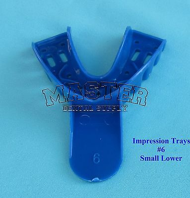 Disposable Dental Impression Trays Blue Perforated 6 Small Lower 12 Pcsbag