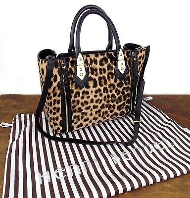 Henri Bendel A-List Womens Flared Gusset Bag Leopard Print Calf Hair Purse