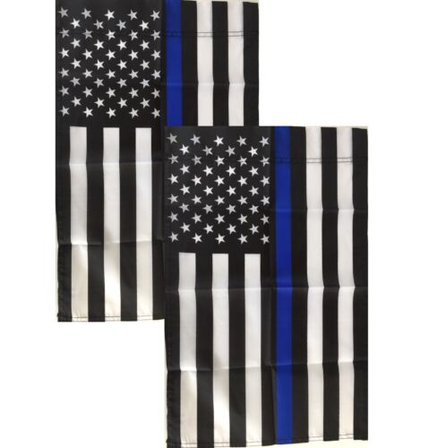 Thin Blue Line Garden Flags 12x18 - 2 Pack - Small Police American Yard Banner