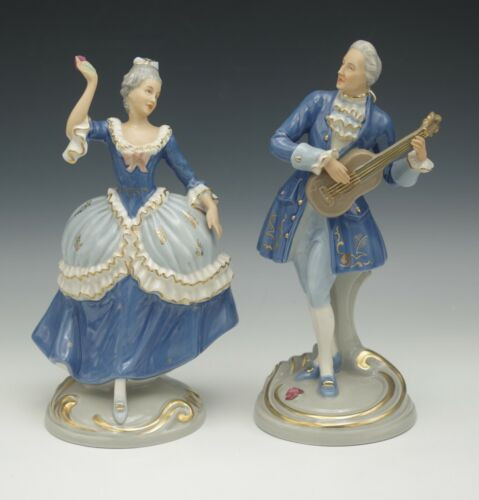 ROYAL DUX BOHEMIA ROCOCO COLONIAL MALE AND FEMALE  2 FIGURINES E MARK ANTIQUE