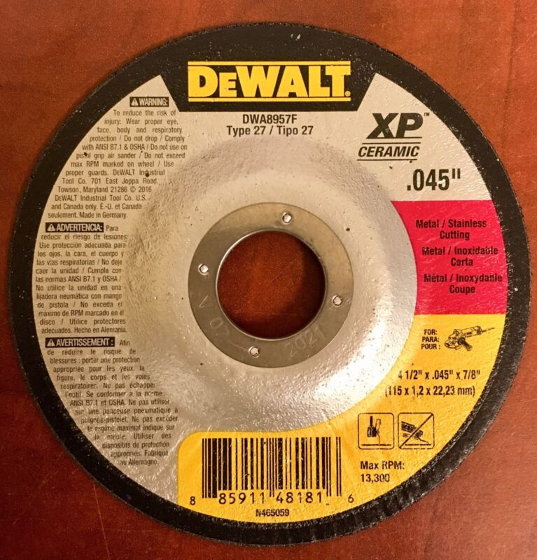 "Dewalt DWA8957F Type 27 4 1/2""x.045""x7/8"" Metal/Stainless Cutting Disc (100PCS)"