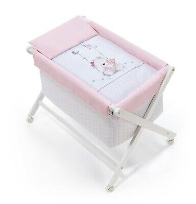 Interbaby Vestidura de Minicuna Plegable Oso Columpio Rosa No Incluye Estructura
