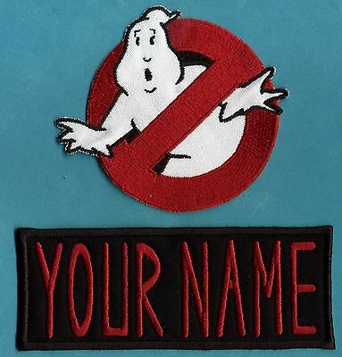 Style Name Tag - ADULT size Ghostbusters No Ghost 1  & Custom Name Tag Patch Set [iron on style]