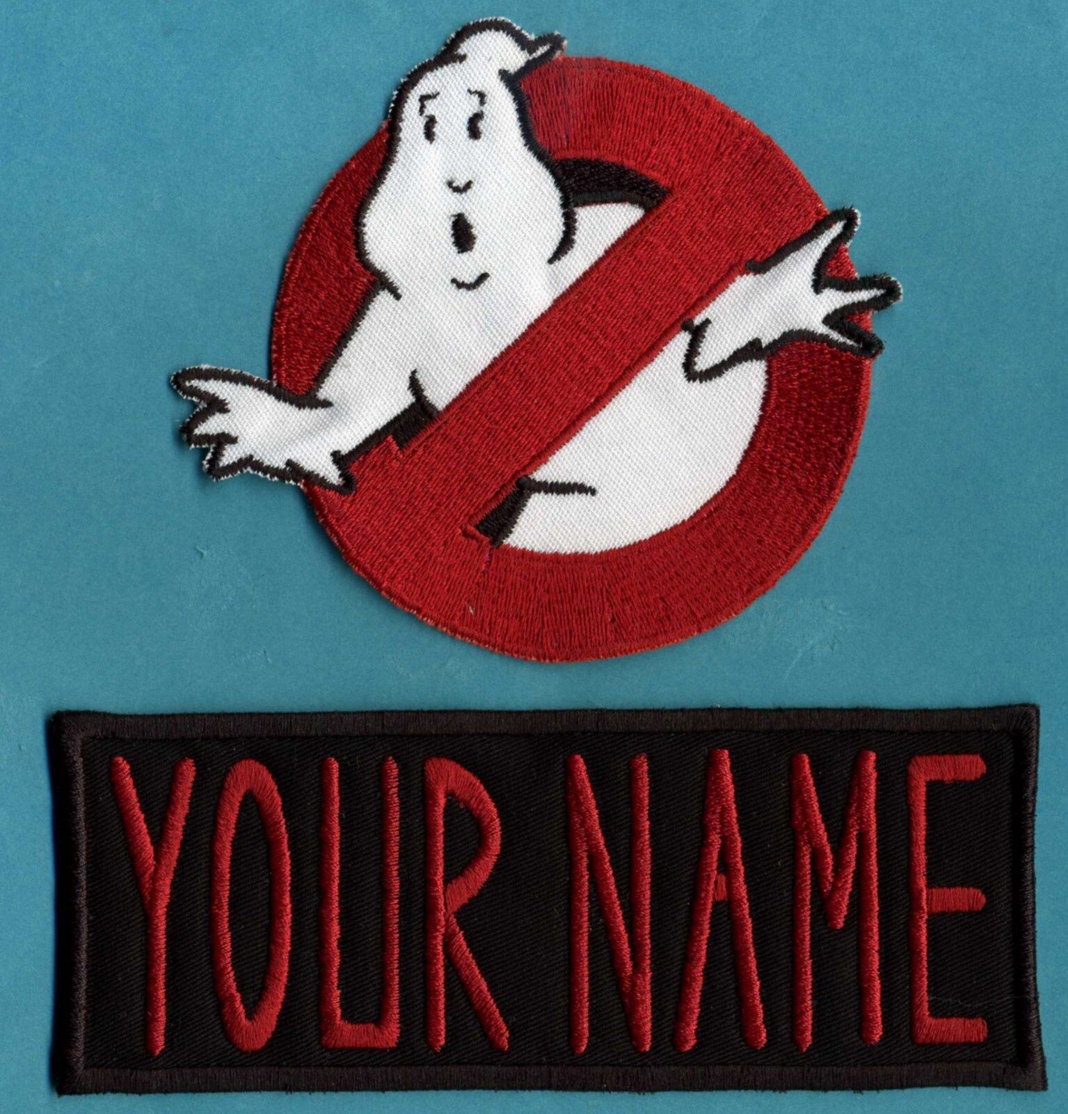 ADULT size Ghostbusters No Ghost 1  & Custom Name Tag Patch Set [iron on style]