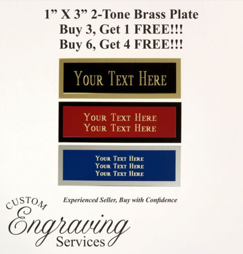 """Engraved 1""""x3"""" Custom TWO TONE BRASS Trophy Plate Name Tag Plaque Memorial"""