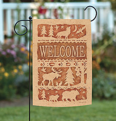 Toland Wildlife Welcome 12.5 x 18 Outdoors Moose Bear Wolf Bird Garden Flag