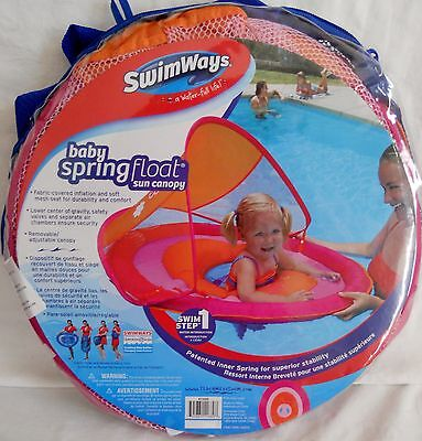 New Swimways Baby Spring Float Sun Canopy Ages 9-24 M Pink/Orange Infant Toddler