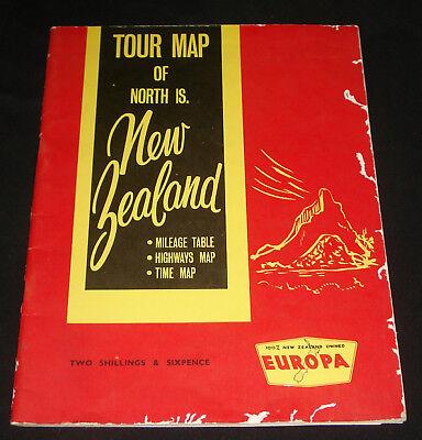 EUROPA NEW ZEALAND PETROL 1960s TOUR MAP
