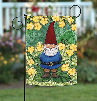 Garden Flags Spring (Toland Garden Gnome 12.5 x 18 Cute Spring Green Yellow Flower Garden Flag )