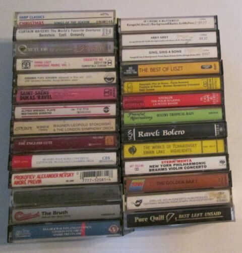 Lot of 27 Classical Music Cassette Tapes Vintage Symphony Orchestra Piano Violin