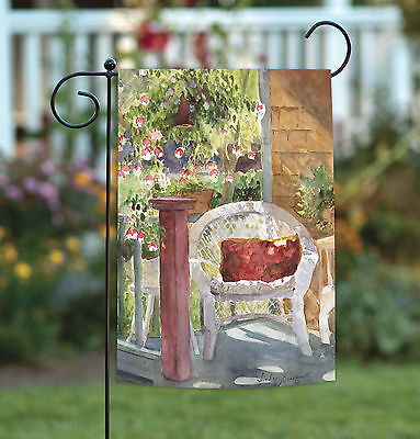 Toland Watercolor Wicker 12.5 x 18 Porch Chair Spring Flower Garden Flag](Porch Flags)