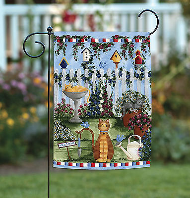 Toland Cats Garden 12.5 x 18 Colorful Kitty Cat Spring Flowe