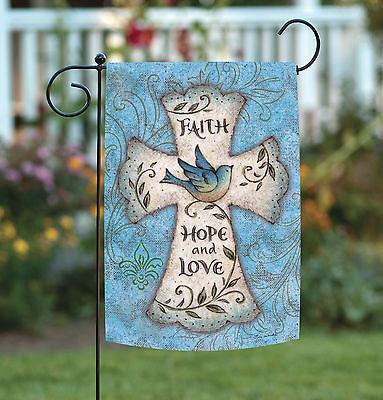 Toland Hope and Love 12.5 x 18 Spring Easter Faith Cross Blue Bird Garden Flag