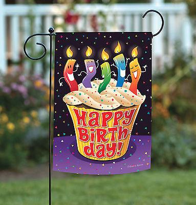Happy Birthday Garden Flag - Toland Happy Birthday Cupcake 12.5 x 18 Dancing Candle Celebrate Garden Flag
