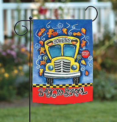 - Toland Back to School 12.5 x 18 Autumn Fall Leaves Yellow Bus Garden Flag