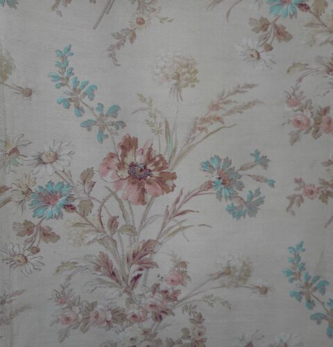 Antique French Shabby Wildflower Poppy Cotton Fabric ~Blushy Apricot Robin Egg