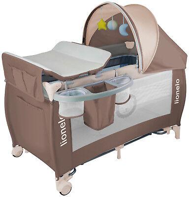 Lionelo Sven Plus Baby Reisebett mit Wickeltisch braun Kinderbett Babybett Bett