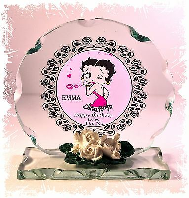 Betty Boop Round Glass - Betty Boop Personalised Birthday Cut Glass Round Plaque ideal Ltd Edition #1