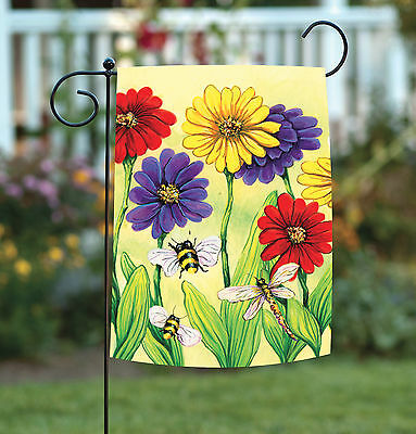 Toland Zinnia Flight 12.5 x 18 Colorful Spring Flower Bee Dragonfly Garden -