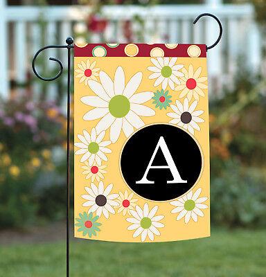 Toland Floral Monogram 12.5 x 18 Spring Summer Flower Initial Garden Flag
