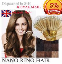 "16"" 18"" 20"" 22"" 24"" 1G/1g Nano Ring Tip Human Hair Extensions UK+FREE NANO BEADS"