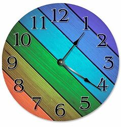 DIAGONAL COLORED WOOD Boards Clock - Large 10.5 Wall Clock - 2269