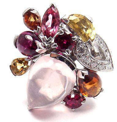 Authentic! CARTIER Sorbet 18k Gold Diamond Pink Quartz Tourmaline Large Ring