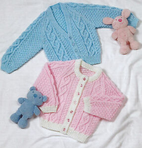 Details about BABY CHILDRENS RAGLAN CARDIGANS KNITTING PATTERN 16/24