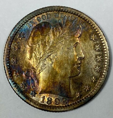 1892 Silver Barber  Quarter Uncirculated - nice toning