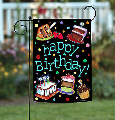 Happy Birthday Garden Flag - Toland Happy Birthday Cake 12.5 x 18 Colorful Candle Double Sided Garden Flag