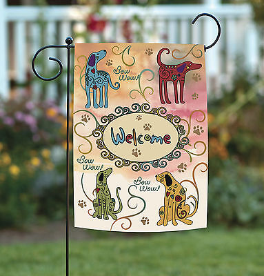 - Toland Bow Wow Welcome 12.5 x 18 Puppy Dog Colorful Swirl Paw Garden Flag