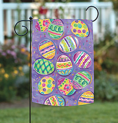 Toland Egg Toss 12.5 x 18 Colorful Easter Collage Pattern Garden Flag - Easter Flag
