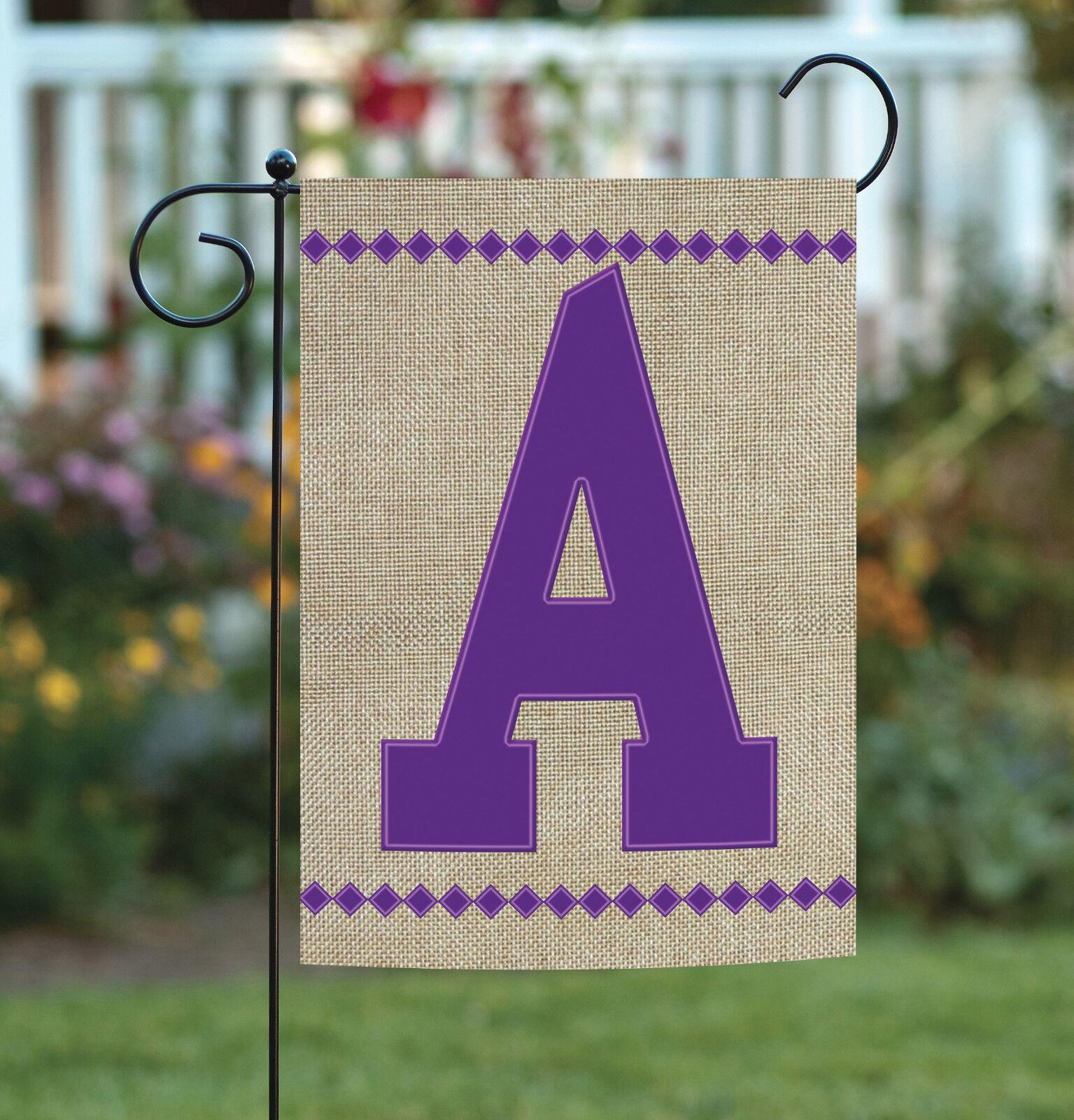 Toland Burlap Monogram 12 x 18 Cute Purple Decorative Initia