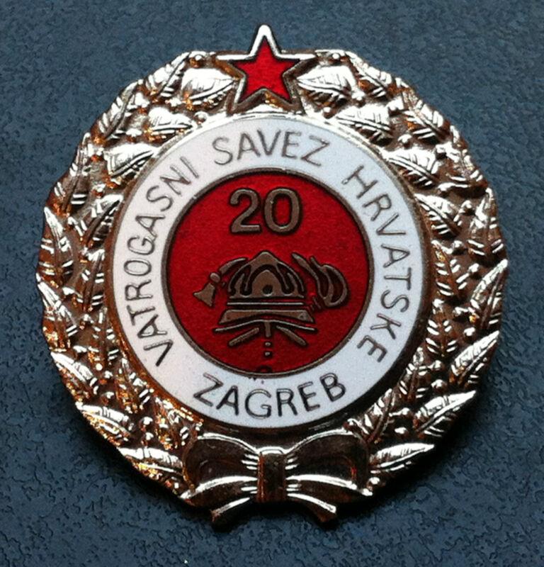 Croatia Hrvatska badge 20 year service Firefighting -rarre medal Yugoslavia SFRJ