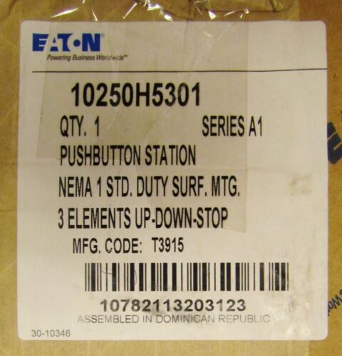 EATON CUTLER HAMMER UP DOWN STOP Push Button Control Station 10250H5301
