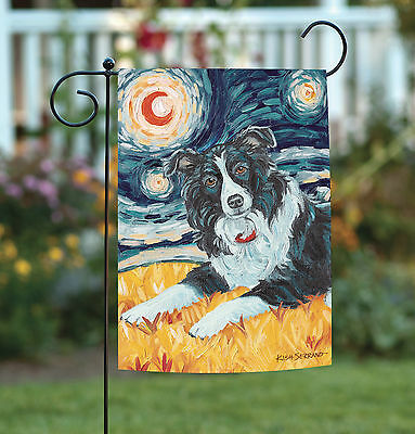 Border Collie Flag - Toland Van Growl Border Collie 12.5 x 18 Starry Night Puppy Dog Garden Flag