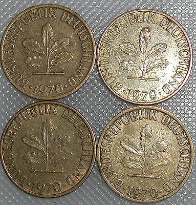 5 Pfennig 1970 D F G J Kompletter Satz