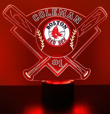 Boston Red Sox Night Light Lamp Personalized FREE MLB Baseball LED Light (Boston Red Sox Led)