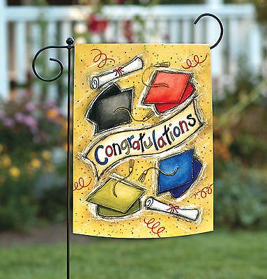 Toland Congratulations 12.5 x 18 Colorful Graduation Cap Diploma Garden Flag - Graduation Garden Flag