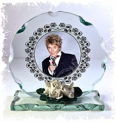 Round glass commemorative plaque Rod Stewart Photo gift Rock star