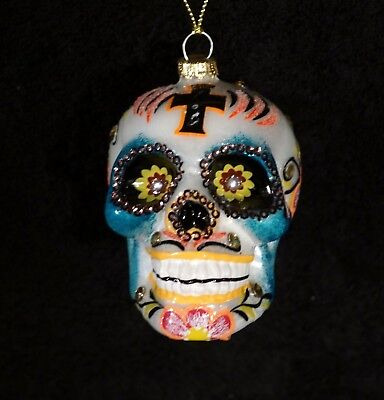Dia De Los Muertos Mercury Glass Skull Christmas Ornament - NWT