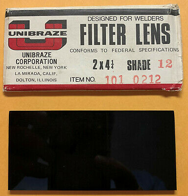 Vintage Unibraze Welders Filter Plate Shade 12 Glass Lens 2 X 4-14 In-free Sh