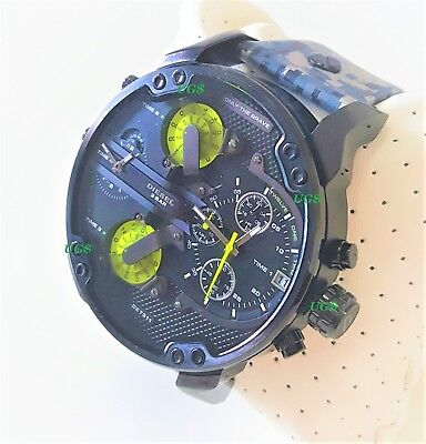 Watch Diesel Men's Mr Daddy 2.0' Army Leather Band Black Gunmetal DZ7311 NEW (Diesel Leather Band Watch)