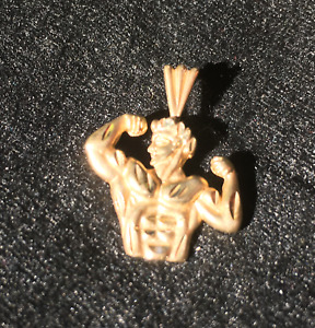 male body builder 14 kt gold pendant for necklace
