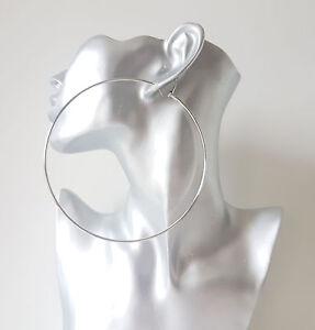 Huge silver hoop earrings - 12cm - 4.5