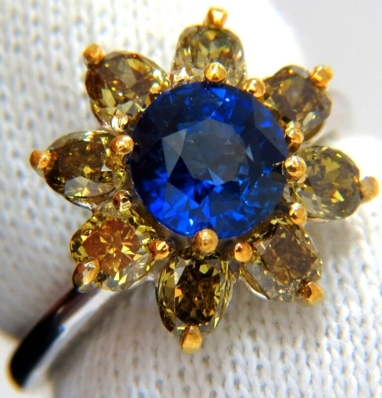 $ 8000 3.16CT NATURAL ROYAL BLUE ROUND ZAFIRO FANY COLOR DIAMONDS CLUSTER RING
