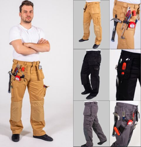 Mens Workwear Trousers Cargo Utility Work Pants with Cordura Knee Reinforcement