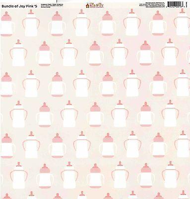 Reminisce - Pink Baby Bottles Scrapbooking Paper 12x12 - Baby Girl - Pink Scrapbook Paper